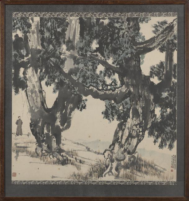 Arbres et personnage, Xu Beihong (1896-1953), Lavis d'encre sur papier, 108,2 x 108,4 cm, Musée national des Arts asiatiques Guimet, Paris.