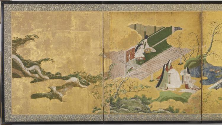 Japanese_-_Six-fold_Screen_with_Scenes_from_-The_Genji_Monogatari-_-_Walters_35210_-_Detail_A