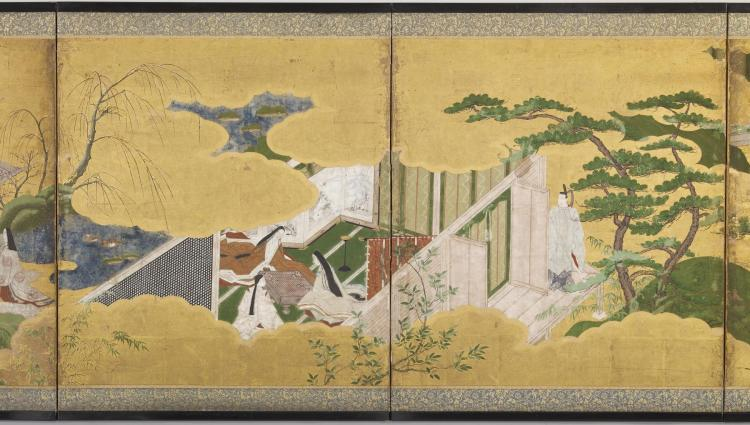 Japanese_-_Six-fold_Screen_with_Scenes_from_-The_Genji_Monogatari-_-_Walters_35210_-_Detail_B
