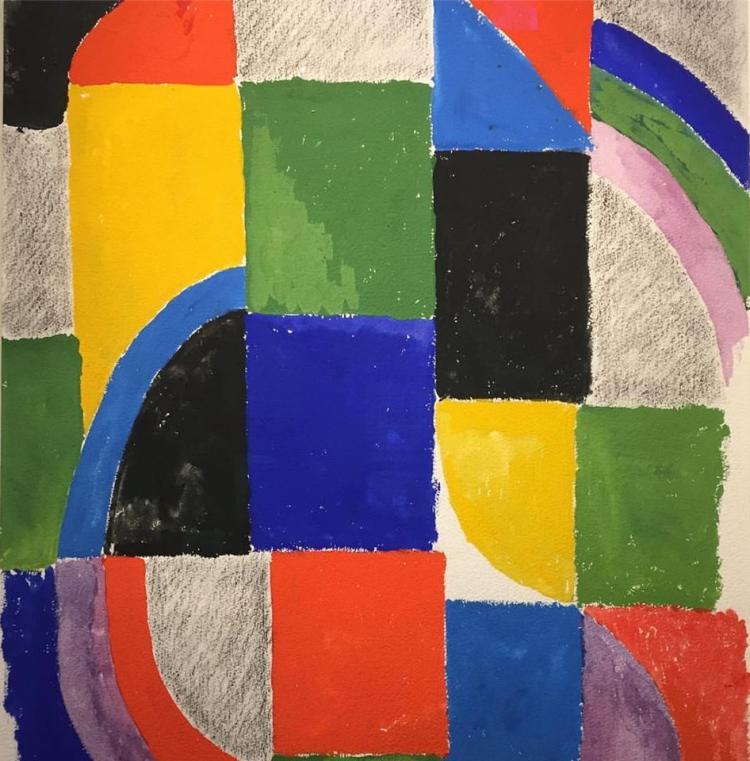 Rythme couleur n°1444, 1966, Sonia Delaunay, gouache sur papier, 75 x 56 cm, Galerie de la Présidence