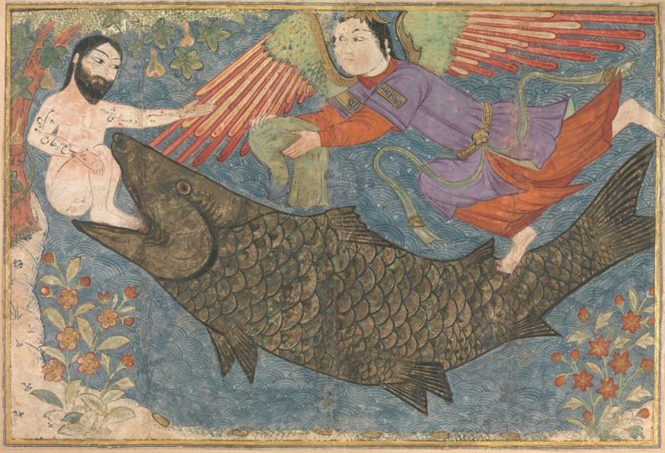 Jonah and the Whale, Folio from a Jami al-Tavarikh (Compendium of Chronicles) | ca. 1400 | Iran