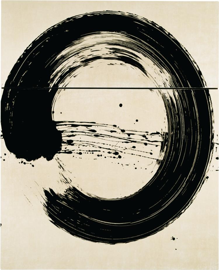Cercle_blanc_I_20017_ Serie Silencieuse_encre_pigment et vernis sur toile_185x150cm_F_Verdier coîncidence_