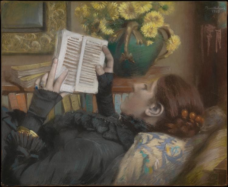La Femme de l_artiste (Périe, 1849–1887) lisant (1883), Albert Bartholomé (1848-1928), pastel, New York, Metropolitan Museum of Art