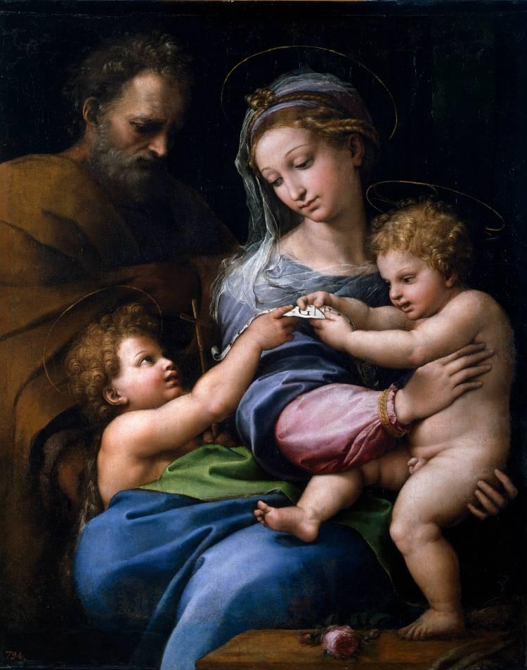 Raphaël, La Sainte Famille avec le petit saint Jean Baptiste,dite Madone à la rose, vers 1516. Huile sur bois transposée surtoile. H. 103 ; l. 84 cm. Madrid, Museo Nacional
