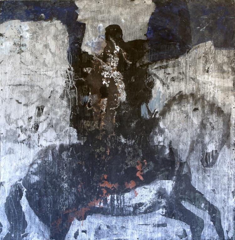 Cavalier_2016-Patrick Loste_encre et pigments sur toile libre_Perpignan_ musée Hyacinthe Rigaud