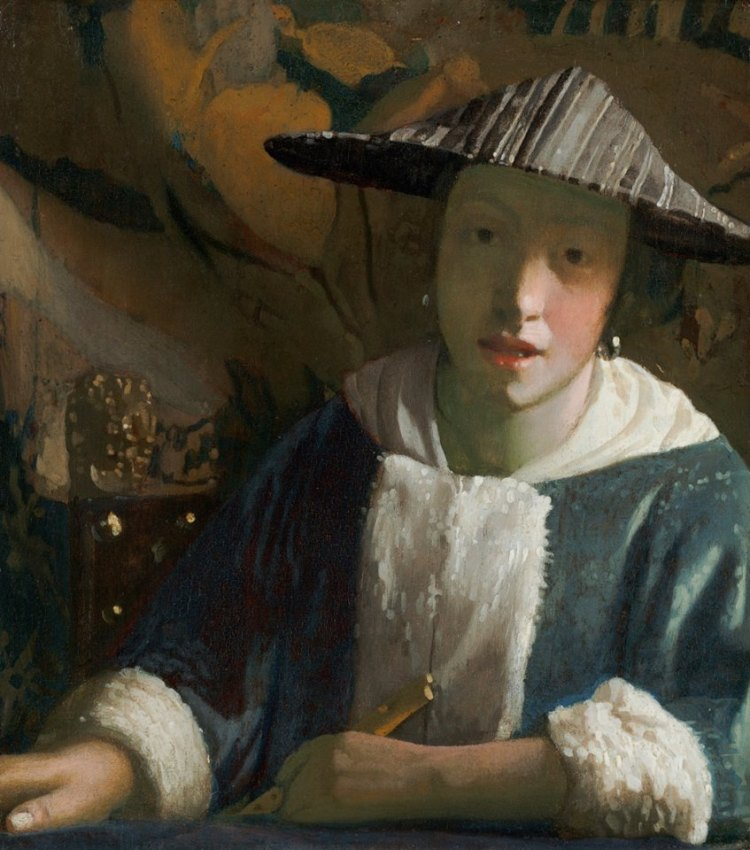 "Attributed to Johannes Vermeer, ""Girl with a Flute,"" probably 1665:1675"