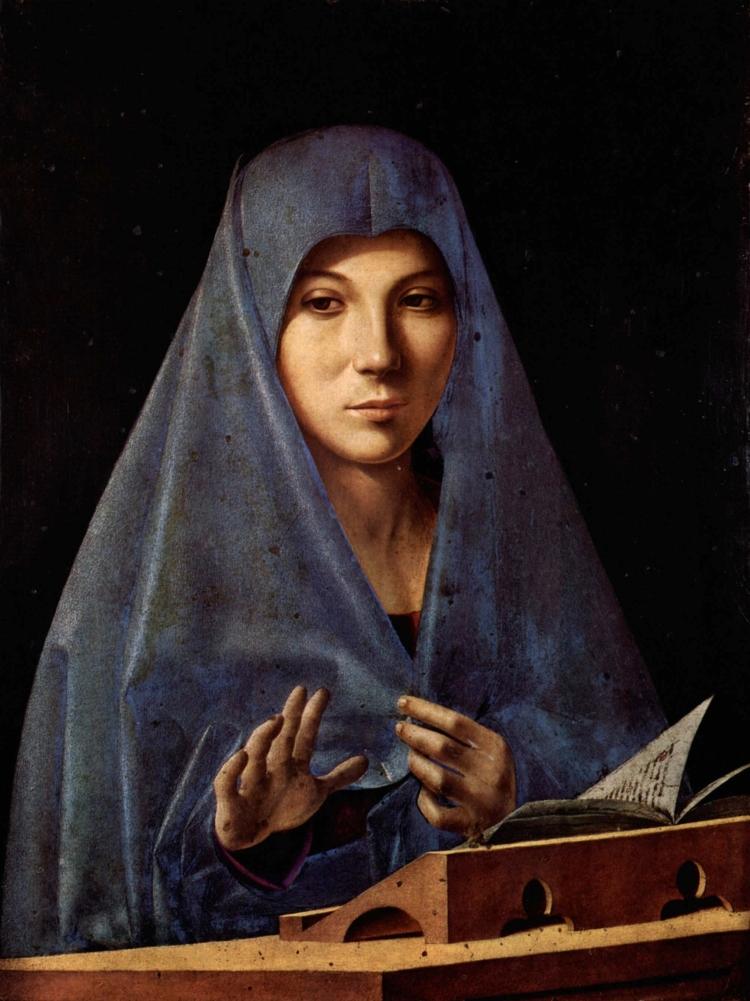 La Vierge de l'Annonciation d'Antonello de Messine. Vers, ou peu après 1475. Tempera et huile sur bois. Dimensions (H × L) 45 × 34.5 cm. Conservé à la Galerie Régionale d