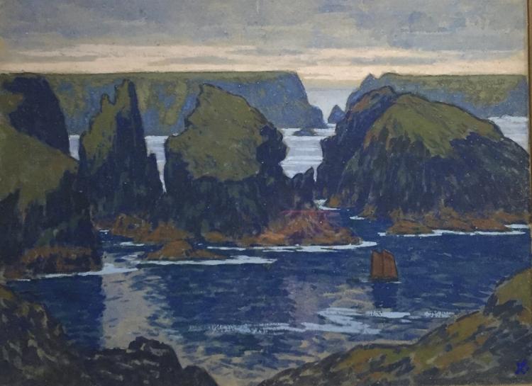 Jean-François Auburtin 1866-1930), Belle-île, Gouphar 1895, gouache sur carton, musée de Pont Aven