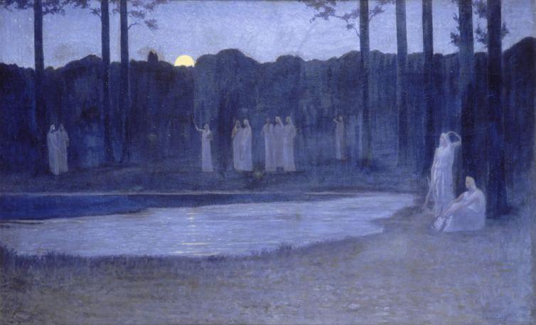 les chants de la nuit, 1896, alphonse Osbert (1857-1939), huile sur toile, 124 x 77 cm, Orsay
