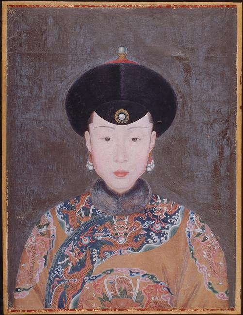Portrait en buste de la première concubine impériale Wang Zhicheng (dit), Attiret Jean Denis (1702-1768)
