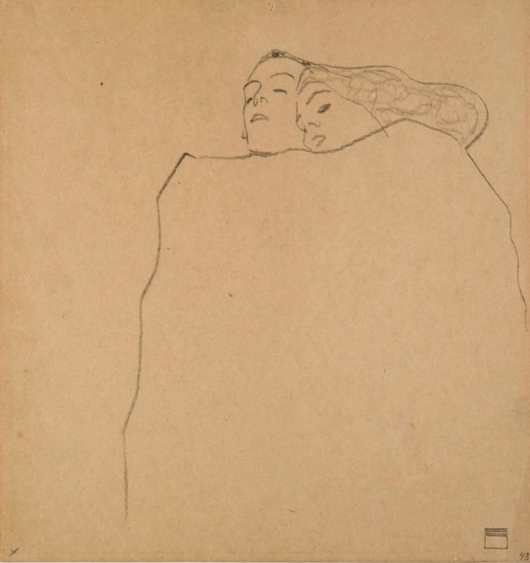 Egon Schiele Schlafendes Paar (Sleeping Couple), 1909 pencil on paper