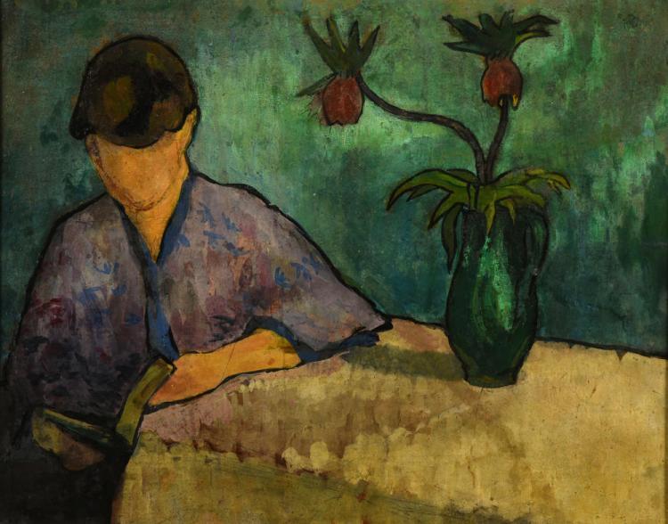 Femme au kimono à la lecture, Émile Bernard Huile sur papier marouflé sur toile, 5à x 40 cm Non datée