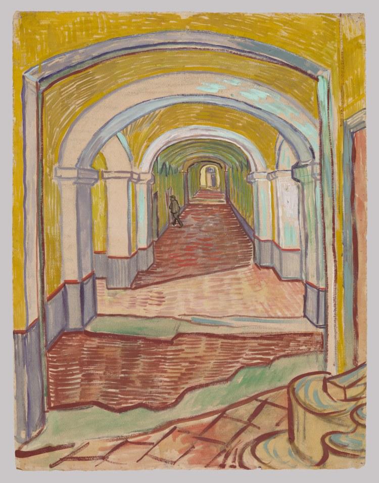 Le corridor de l'asile St Paul de Mausole,1889, Vincent Van Gogh (1853-1890), dessin, gouache et craie sur papier Ingres, NY, The MET