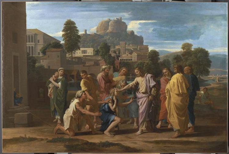 Les aveugles de Jéricho, dits aussi Le Christ guérissant les aveugles, 1650, huile sur toile, 176 x 119 cm, Paris musée du Louvre
