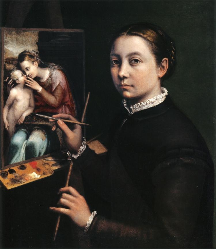 Sofonisba-Anguissola,-Autoportrait-au-chevalet,-1556,-huile-sur-toile,-66-x-57-cm,-Château-de-Łańcut,-Pologne-copie