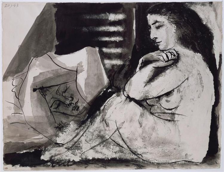 Femme nue assise contemplant un homme endormi Picasso Pablo (dit), Ruiz Picasso Pablo