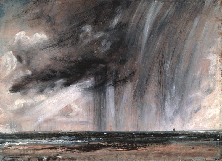 Étude de marine avec nuages de pluie, 1824-1828, John Constable (1776-1837), huile sur papier, 22,2 x 31,1 cm, Londres, Royal Academy of Arts