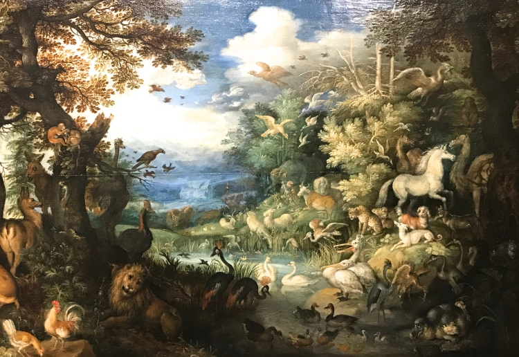 Roelandt Savery (1576?-1639) Noé remerciant Dieu d'avoir sauvé la Création, Huile sur bois, 98,5 x 523,7 cm Reims, musée des Beaux Arts