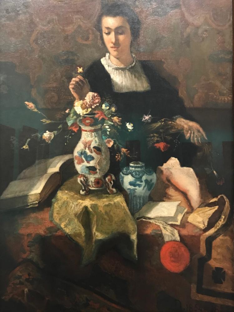 La femme au bouquet, 1854-1855, Louis Dubois (1830-1880), huile sur toile, 101 x 131 cm, Musées royaux des beaux-arts de Belgique