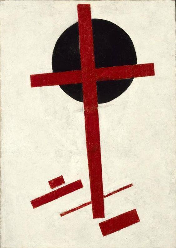 Kazimir Malévitch, Suprématisme mystique (croix rouge sur cercle noir), 1920-22, huile sur toile, 72.5x51cm, Coll. Stedelijk Musueum Amsterdam