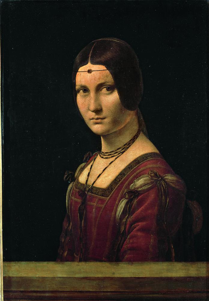 La belle Ferronnière vers 1495-1499, Léonard de Vinci (1492-1519), huile sur bois 45 x 63 cmLouvre