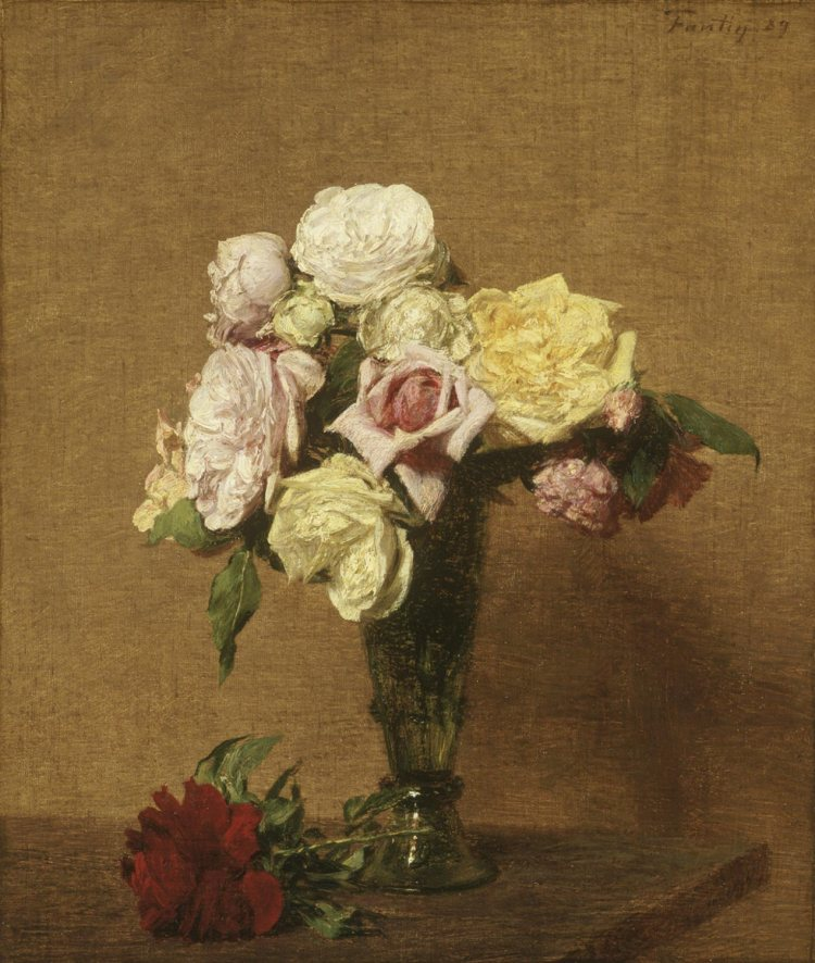 Nature morte avec des roses dans un vase cannelé, 1889, Fantin-Latour Ignace Henri Jean Théodore (1836-1904), Huile sur toile, 38,1 x 44,4 cm, Philadelphie (Pa.), Philadelphia Museum