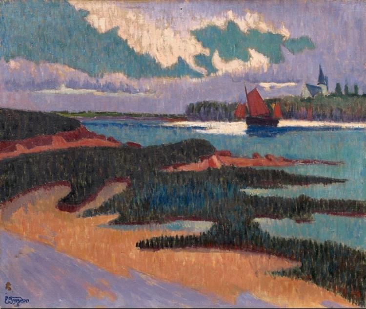 Entrée de la rivière, 1926, Emile Jourdan (1860-1931), huile sur toile, 55 x 46 cm, Collection particulière