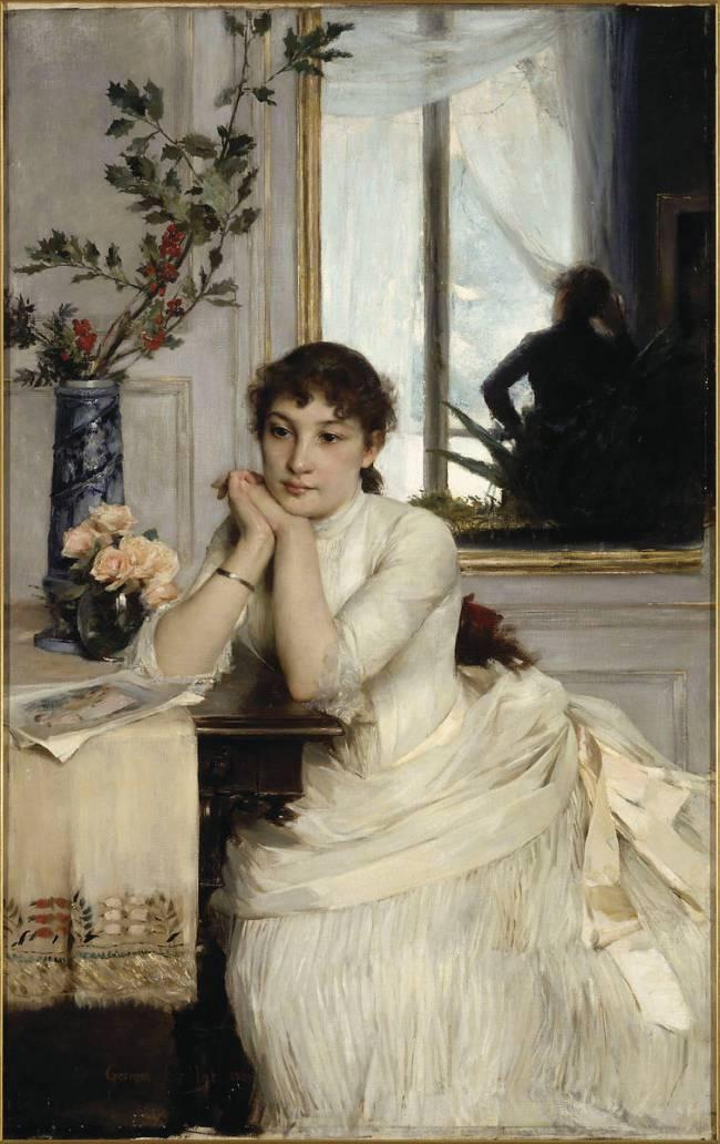 L'attente, 1886, Georges Callot (1857-1903), huile sur toile, 145 x 93 cm, Cholet, musée d'Art et d'HIstoire