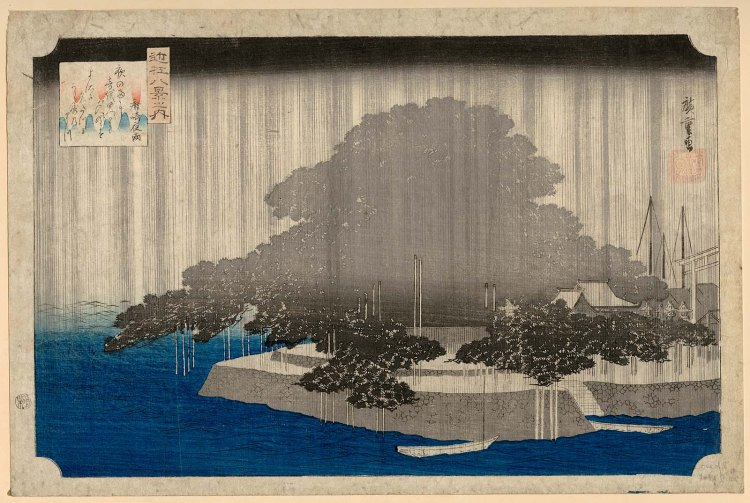 Night Rain at Karasaki (Karasaki yau), from the series Eight Views of Ômi (Ômi hakkei no uchi) Japanese Edo period about 1834–35 (Tenpô 5–6) Artist Utagawa Hiroshige I (Japanes