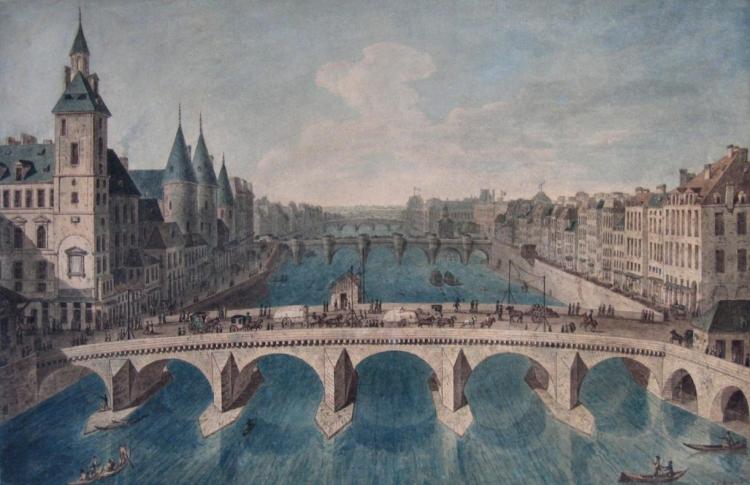 Le Pont au Change, le palais (conciergerie) et la Seine vers l'aval, actuel 1er arrondissement, entre 1801 et 1850, Angelo Garbizza, Dessin, 52,6 x 34,4 cm, Paris Musée Carnavalet