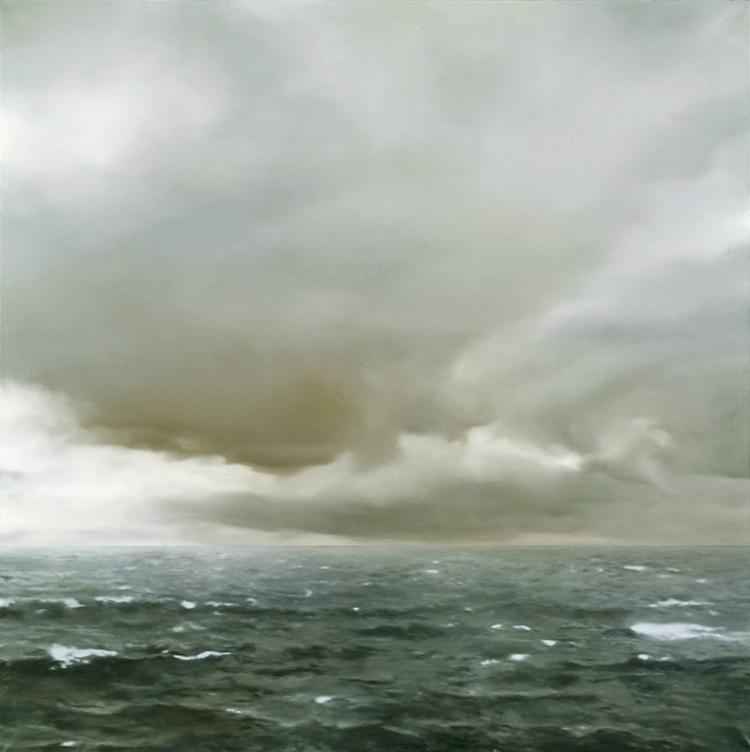 Marine nuageuse, 1969, Gerhard Richter (né en 1932), huile sur toile, 200 x 200 cm, Hambourg, Kunsthalle