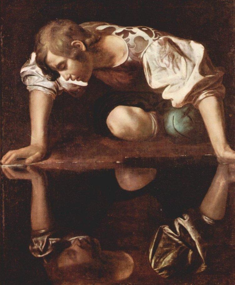 Narcisse, Le Caravage, Merisi da Caravaggio Michelangelo (v 1571-1610), huile sur toile, 92 x 110 cm, Rome, palais Barberini, galerie d'Art antique