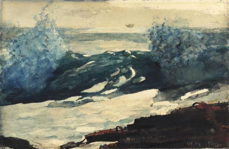 Prout's Neck Surf, 1894, Winslow HOmer (1836-1910), aquarelle sur papier, 35,6 x 54,4 cm, Philadelphie, Philadelphia Museum of Art