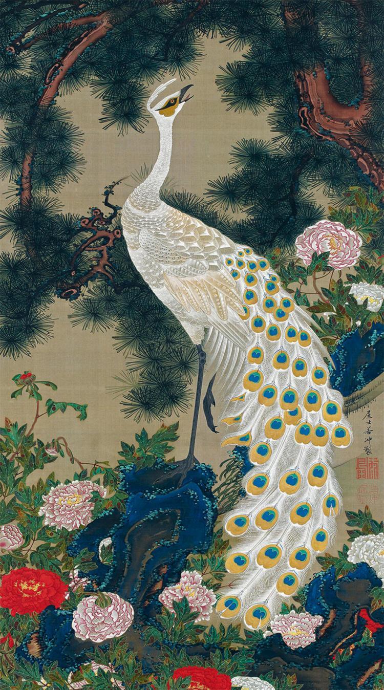 Vieux pin et paon, Le royaume coloré des êtres vivants IX, vers 1757-1760,rouleau vertical, couleurs sur soie, 142,9 x 79,6 cm, Fait par le pieux laïc Jakuchu (vers 1716-1800)