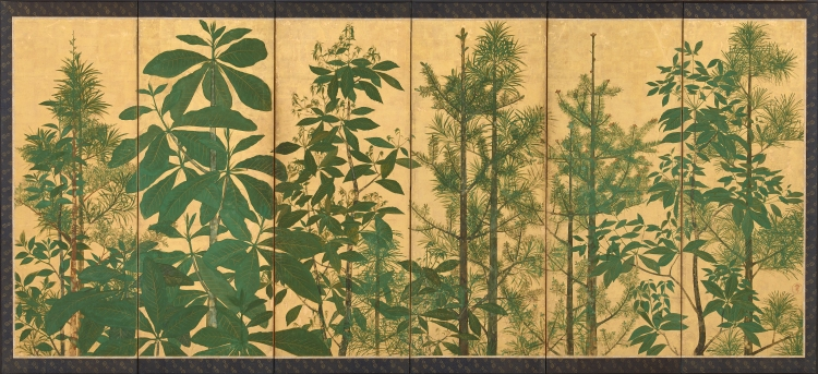 SOTATSU SCHOOL, INEN SEAL. JAPANESE, EDO PERIOD, Trees. Sotatsu School, Inen seal. , mid-17th century, Ink, color and gold on paper, 154 × 357.8 cm