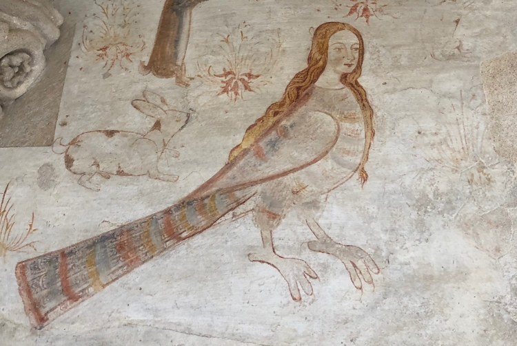 Sirène, peinture à fresque, XVIe siècle, Évora, Portugal