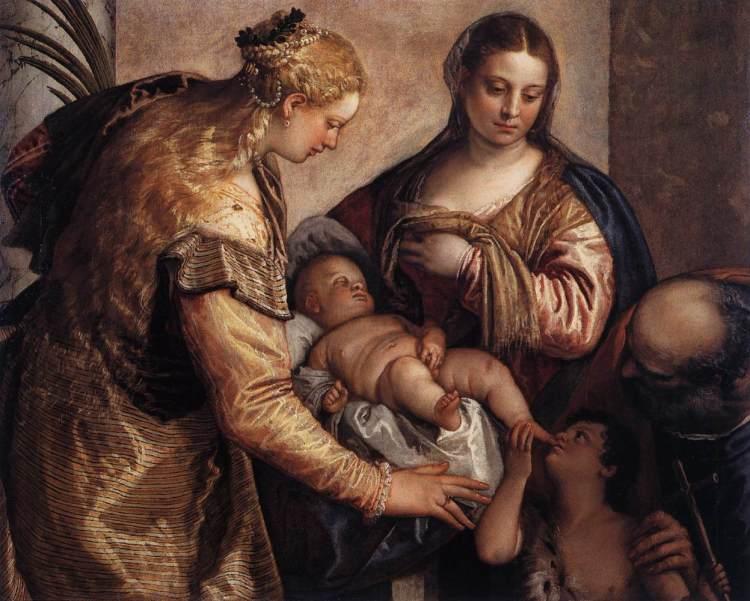 La sainte famille avec sainte Barbara, 1570, Paolo Veronese (1528-1588), huile sur toile, 86 x 122 cm, Florence, Galerie des Offices