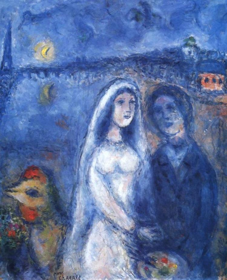 Les mariés de la tour Eiffel, 1982-83, Marc Chagall (1887-1985), huile sur toile,61 x 50 cm, collection particulière