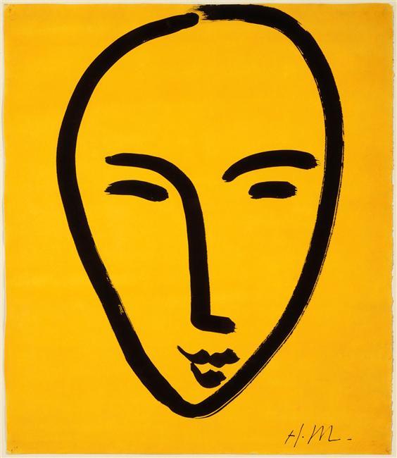 visage sur fond jaune, 1952, henri matisse (1869-1954), encre de chine et gouache qur papier ingres, 64,6x 75,3 cm, grenoble, musée de grenoble